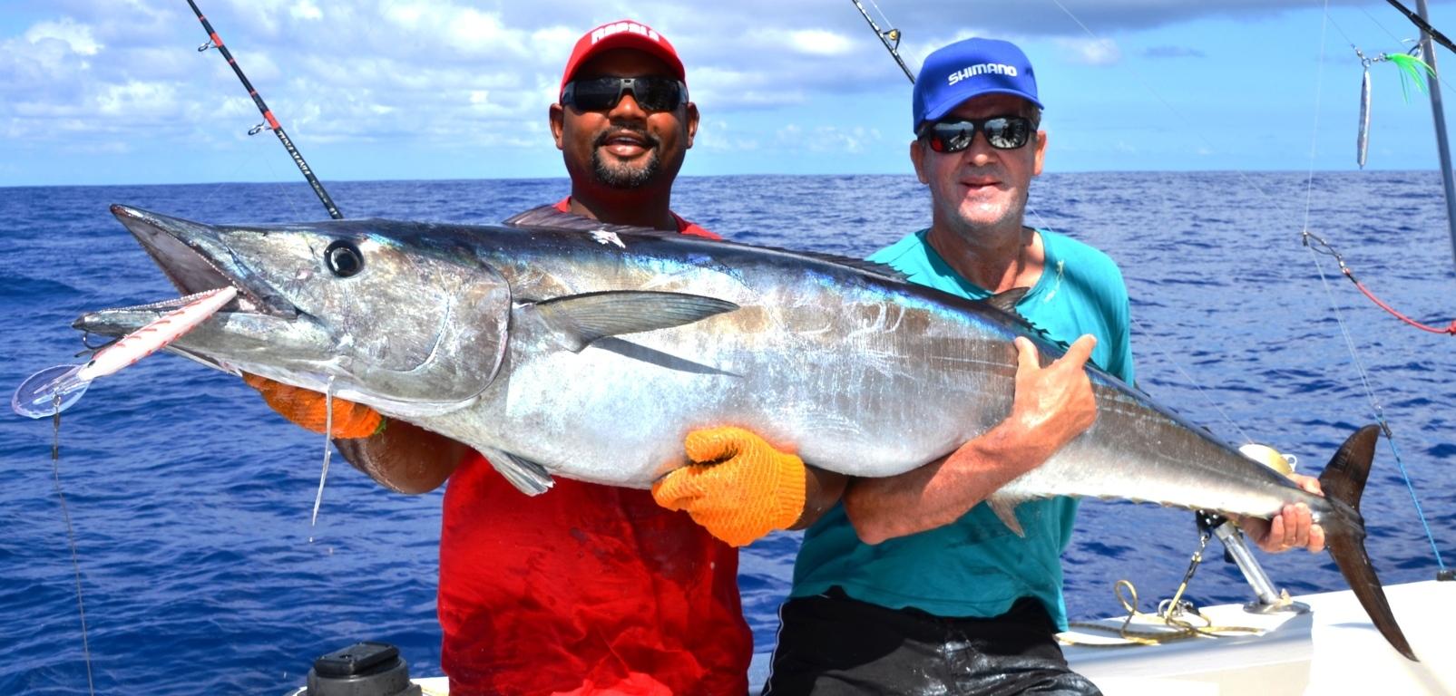43kg Wahoo pris en pêche à la traine Heavy Spinning par Louis Collet le 27 Novembre 2015- Rod Fishing Club - Ile Rodrigues - Maurice - Océan Indien