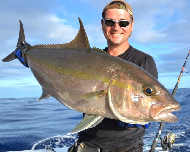 Fabrice and his seriola- Rod Fishing Club - Rodrigues Island - Mauritius - Indian Ocean