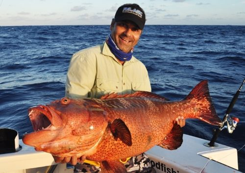 Laurent et un mérou babone - Rod Fishing Club - Ile Rodrigues - Maurice - Océan Indien