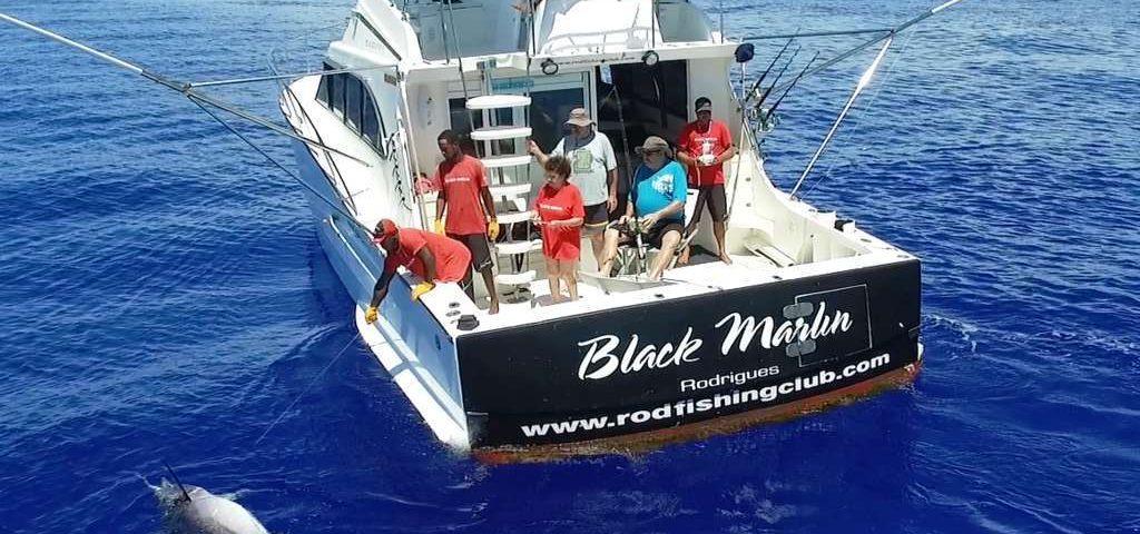 Marlin noir au bateau vu par le drone - Rod Fishing Club - Ile Rodrigues - Maurice - Océan Indien