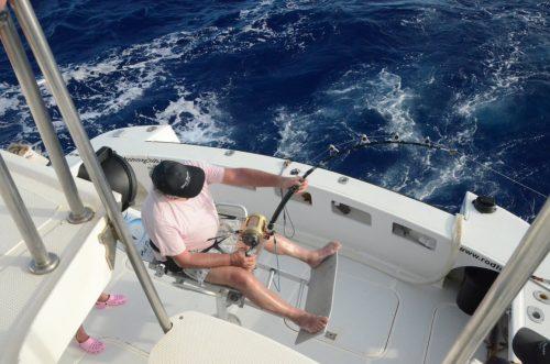Maurice en combat sur un marlin bleu - Rod Fishing Club - Ile Rodrigues - Maurice - Océan Indien