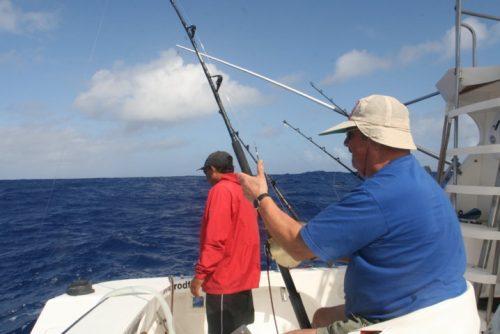 Paulus au siège de combat - Rod Fishing Club - Ile Rodrigues - Maurice - Océan Indien
