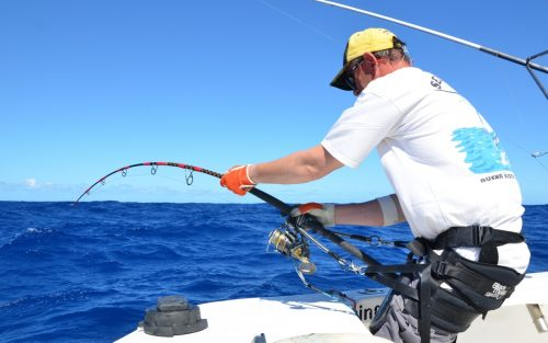 Philippe en combat - Rod Fishing Club - Ile Rodrigues - Maurice - Océan Indien