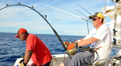 Philippe travaillant un marlin bleu de 315kg - Rod Fishing Club - Ile Rodrigues - Maurice - Océan Indien