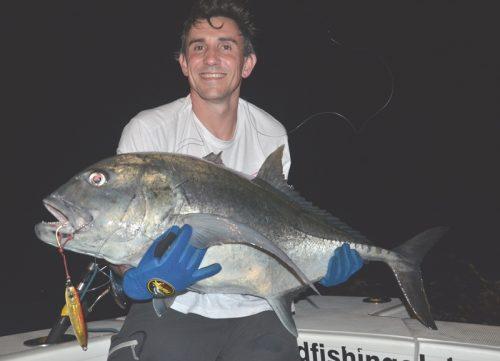 carangue ignobilis relâchée d' une quinzaine de kg en jigging - Rod Fishing Club - Ile Rodrigues - Maurice - Océan Indien