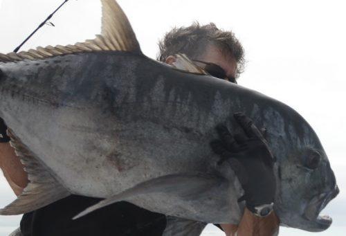 carangue ignobilis d' une vingtaine de kg relâchée - Rod Fishing Club - Ile Rodrigues - Maurice - Océan Indien