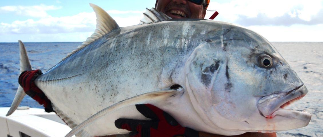 carangue ignobilis ou GT relâchée - Rod Fishing Club - Ile Rodrigues - Maurice - Océan Indien