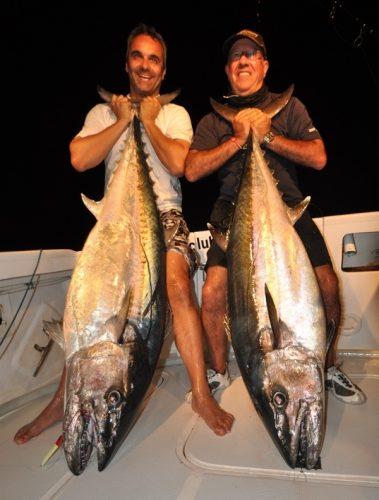 doublé de beaux thons dents de chien - Rod Fishing Club - Ile Rodrigues - Maurice - Océan Indien