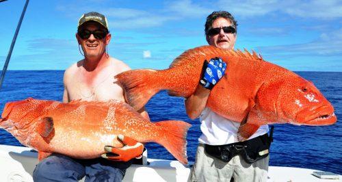 doublé de grosses babones en jigging - Rod Fishing Club - Ile Rodrigues - Maurice - Océan Indien