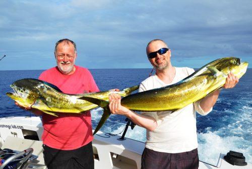 doublé de dorades coryphènes - Rod Fishing Club - Ile Rodrigues - Maurice - Océan Indien