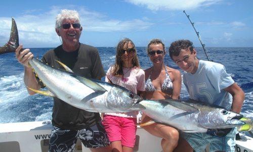 jolis thons jaunes - Rod Fishing Club - Ile Rodrigues - Maurice - Océan Indien.