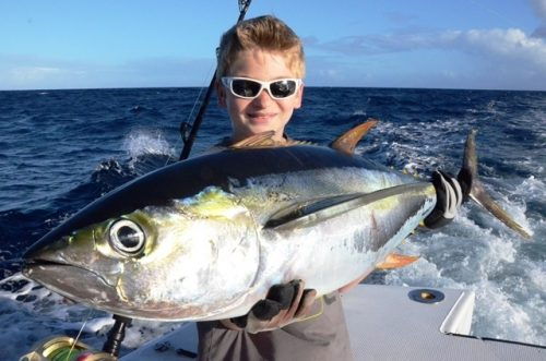 Antoine and his yellowfin tuna - Rod Fishing Club - Rodrigues Island - Mauritius - Indian Ocean