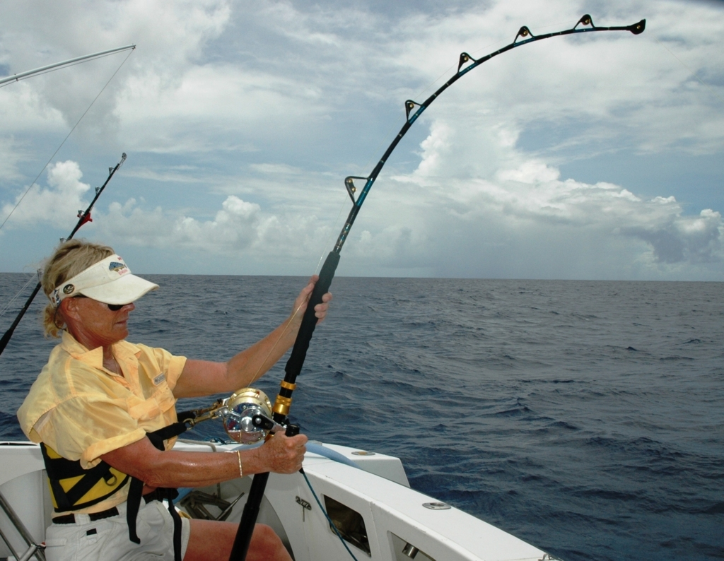 Barbara on the fighting share on March 2007 -Rod Fishing Club - Rodrigues Island - Mauritius - Indian Ocean