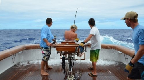 Barbara on the share with a 200kg blue marlin - Rod Fishing Club - Rodrigues Island - Mauritius - Indian Ocean