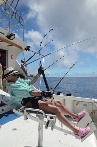 Barbara working a nice shark on 50lbs - Rod Fishing Club - Rodrigues Island - Mauritius - Indian Ocean