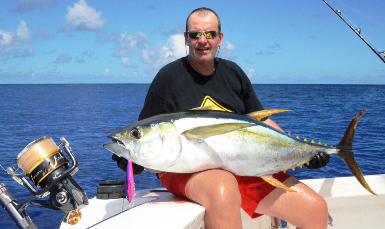 Bruno et son thon jaune en Heavy Spinning - Rod Fishing Club - Ile Rodrigues - Maurice - Océan Indien