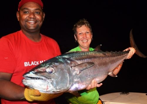 Dominique and his doggy at night caught on baiting - Rod Fishing Club - Rodrigues Island - Mauritius - Indian Ocean