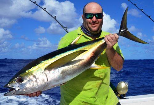 Fabrice and his Yellowfin Tuna - Rod Fishing Club - Rodrigues Island - Mauritius - Indian Ocean