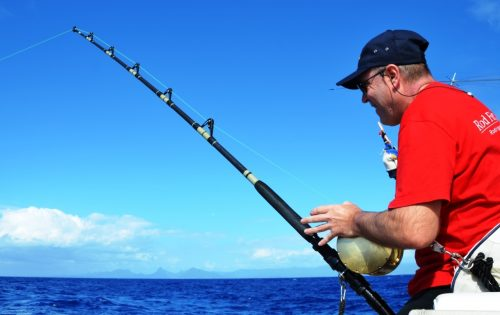 Fabrice on fight - Rod Fishing Club - Rodrigues Island - Mauritius - Indian Ocean