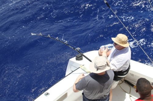 Gégé 75 years old on stand up with a 100kg blue marlin - Rod Fishing Club - Rodrigues Island - Mauritius - Indian Ocean