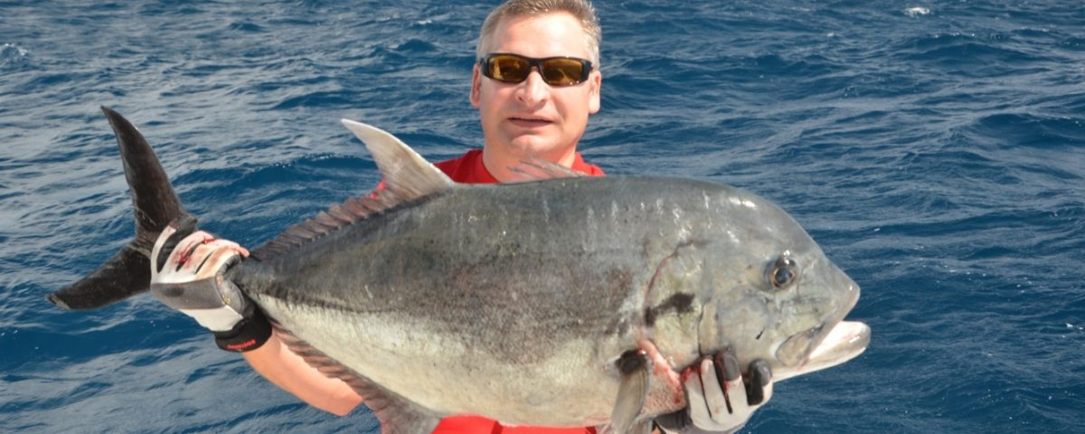 Giant Trevally released caught on jigging - Rod Fishing Club - Rodrigues Island - Mauritius - Indian Ocean