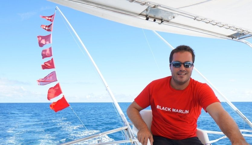 Happy Capt Yann with 8 billfish flags - Rod Fishing Club - Rodrigues Island - Mauritius - Indian Ocean