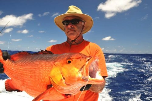 Jacques and a red snapper - Rod Fishing Club - Rodrigues Island - Mauritius - Indian Ocean