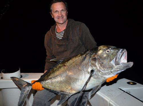 Jean Yves and his Giant Trevally - Rod Fishing Club - Rodrigues Island - Mauritius - Indian Ocean