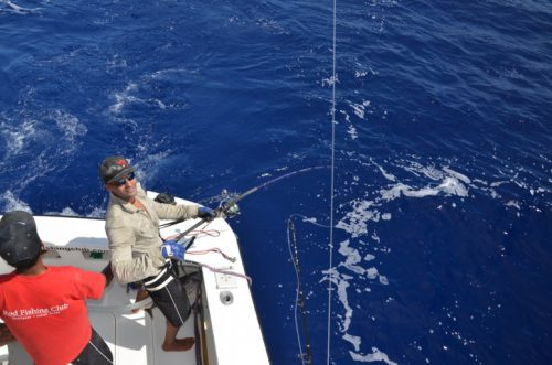 Jeremy fighting a marlin on a jigging rod - Rod Fishing Club - Rodrigues Island - Mauritius - Indian Ocean