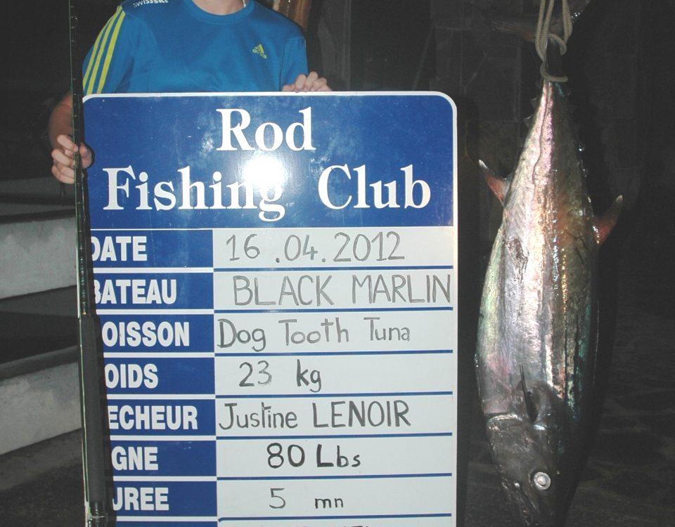 Justine Lenoir record du monde junior féminin 80lb thon à dents de chien 23kg 16 04 2012