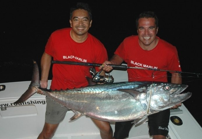 Mark and nice doggy caught on jigging - Rod Fishing Club - Rodrigues Island - Mauritius - Indian Ocean