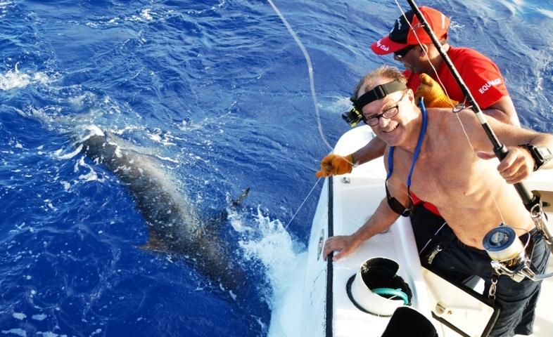 Marlin bleu relâché en Heavy Spinning par Christian en Fév 2015- Rod Fishing Club - Ile Rodrigues - Maurice - Océan
