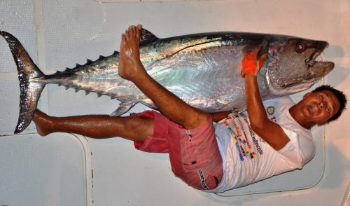 Olivier and his 70kg doggy on jigging - Rod Fishing Club - Rodrigues Island - Mauritius - Indian Ocean