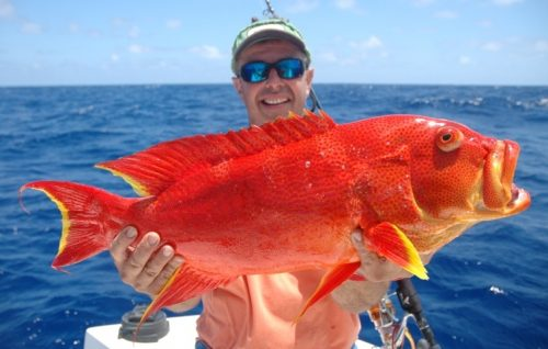 Philippe and moontail sea bass on jigging - Rod Fishing Club - Rodrigues Island - Mauritius - Indian Ocean
