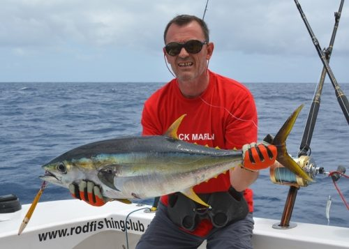Paul and his around 35kg GT released - Rod Fishing Club - Rodrigues Island - Mauritius - Indian Ocean
