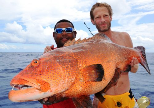 Red coral trout on jigging - Rod Fishing Club - Ile Rodrigues - Maurice - Océan Indien