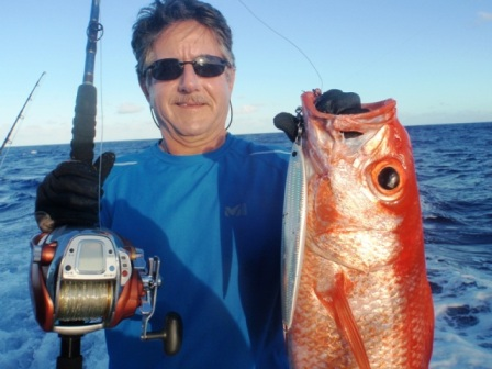 Rosy jobfish on Very Deep Jigging - Rod Fishing Club - Rodrigues Island - Mauritius - Indian Ocean.