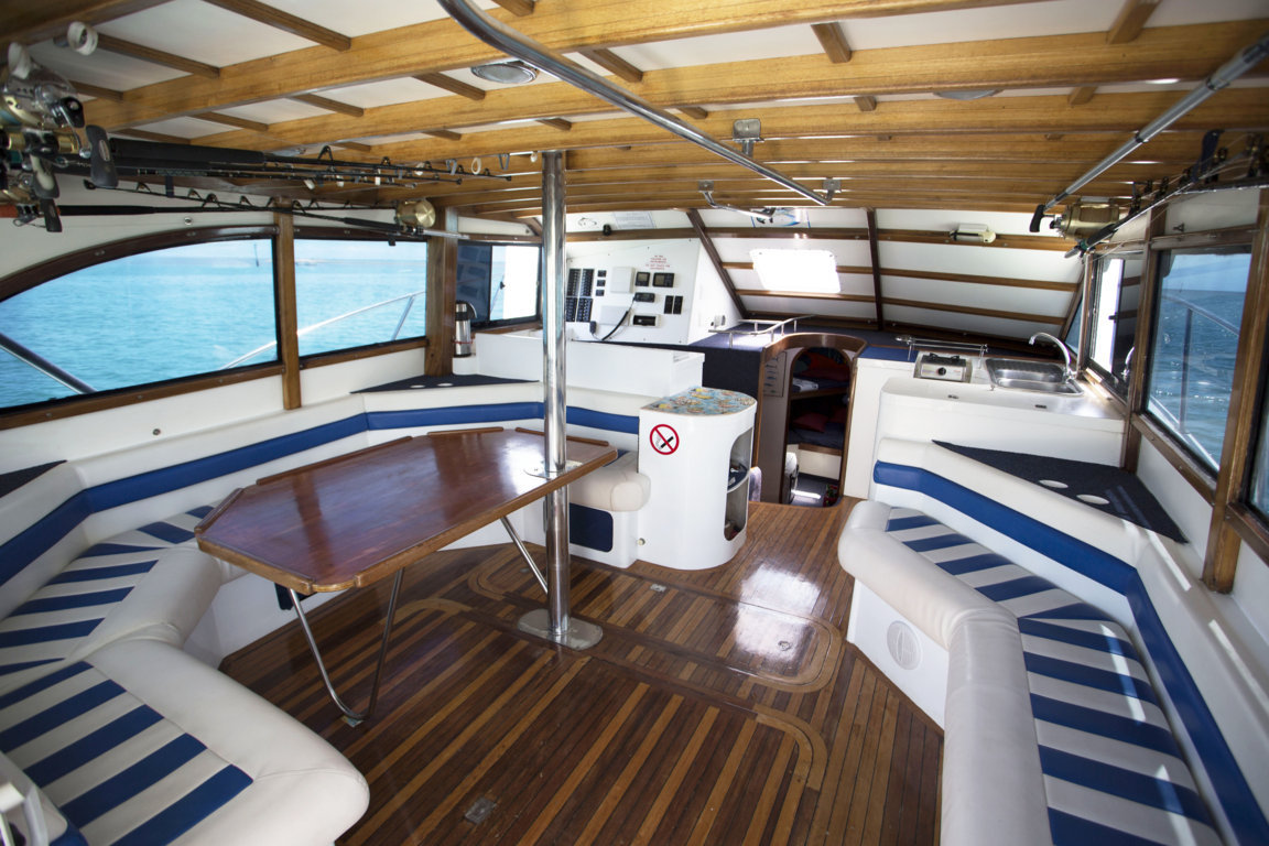 Saloon of Black Marlin boat- Rod Fishing Club - Rodrigues Island - Mauritius - Indian Ocean