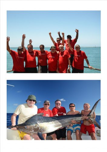 The whole Team and black marlin - Rod Fishing Club - Rodrigues Island - Mauritius - Indian Ocean