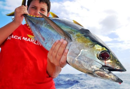 Tom and his yellowfin tuna - Rod Fishing Club - Rodrigues Island - Mauritius - Indian Ocean