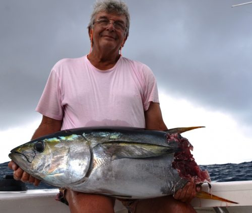 cutting yellowfin tuna - Rod Fishing Club - Rodrigues Island - Mauritius - Indian Ocean