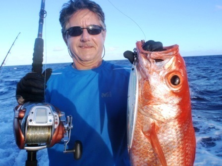 flame snapper or rosy jobfish on very deep fishing - Rod Fishing Club - Rodrigues Island - Mauritius - Indian Ocean