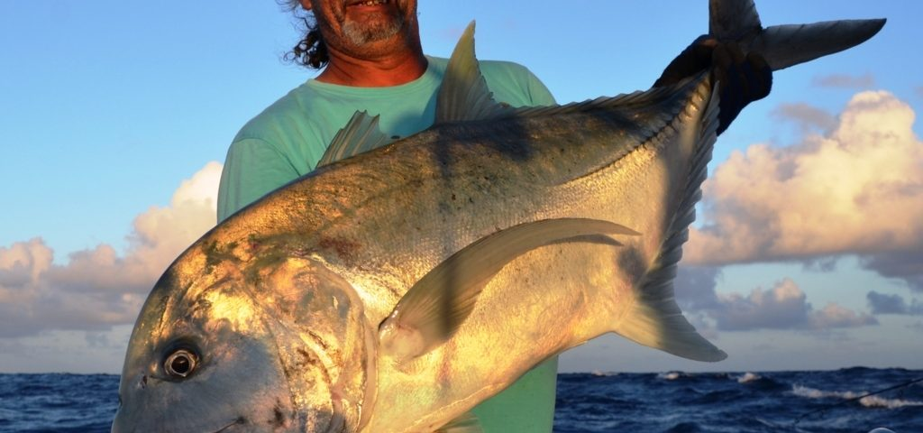 over 25kg GT (Giant trevally) released on jigging - Rod Fishing Club - Rodrigues Island - Mauritius - Indian Ocean