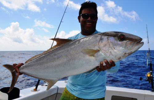 seriola or amberjack for Jacques Yves - Rod Fishing Club - Rodrigues Island - Mauritius - Indian Ocean