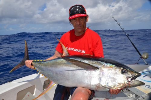yellowfin tuna on trolling - Rod Fishing Club - Ile Rodrigues - Maurice - Océan Indien