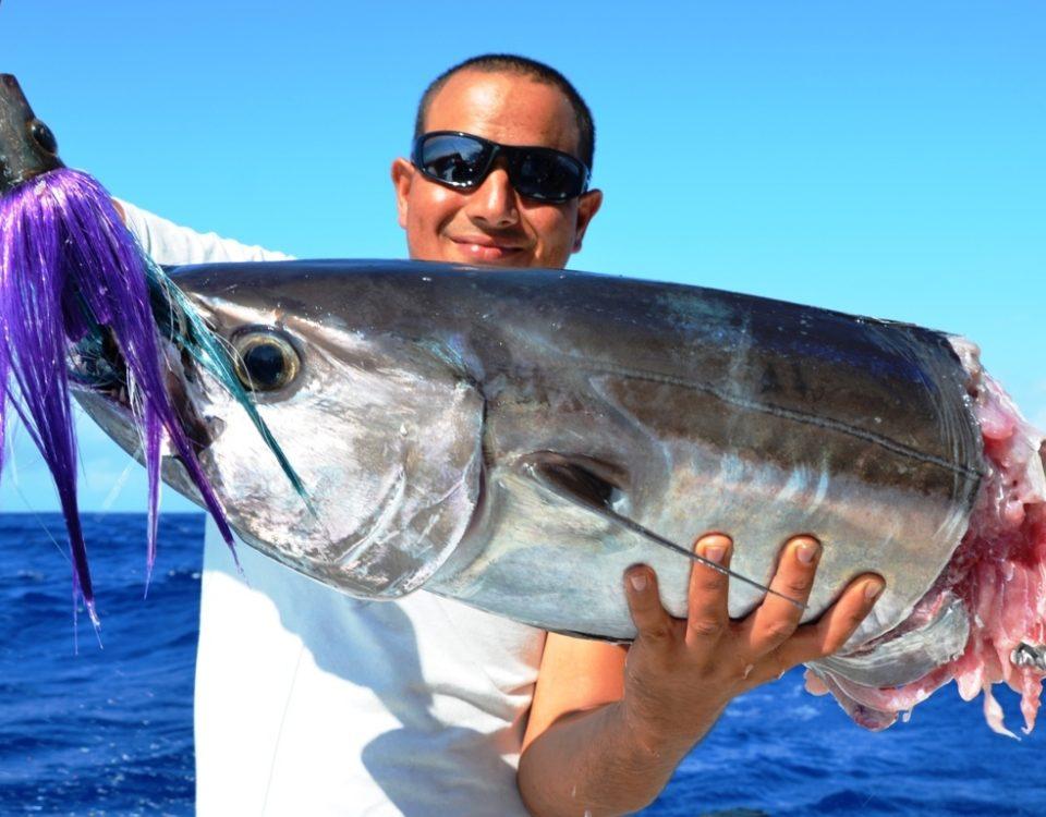 Attaque de requin sur thon à dents de chien pour Aviram - Rod Fishing Club - Ile Rodrigues - Maurice - Océan Indien