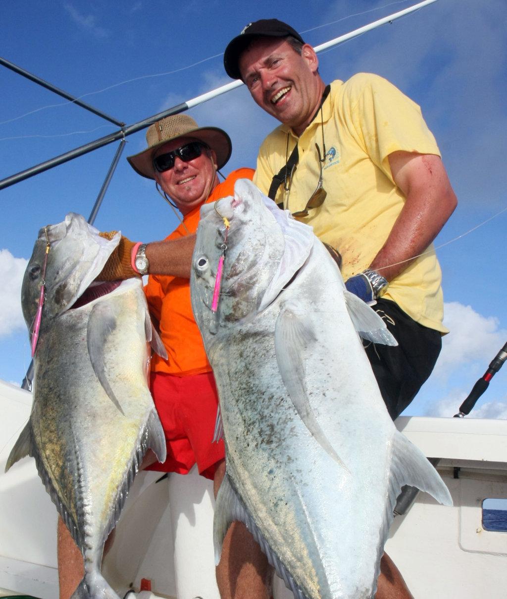 Doublé de GT en jigging - Rod Fishing Club - Ile Rodrigues - Maurice - Océan Indien