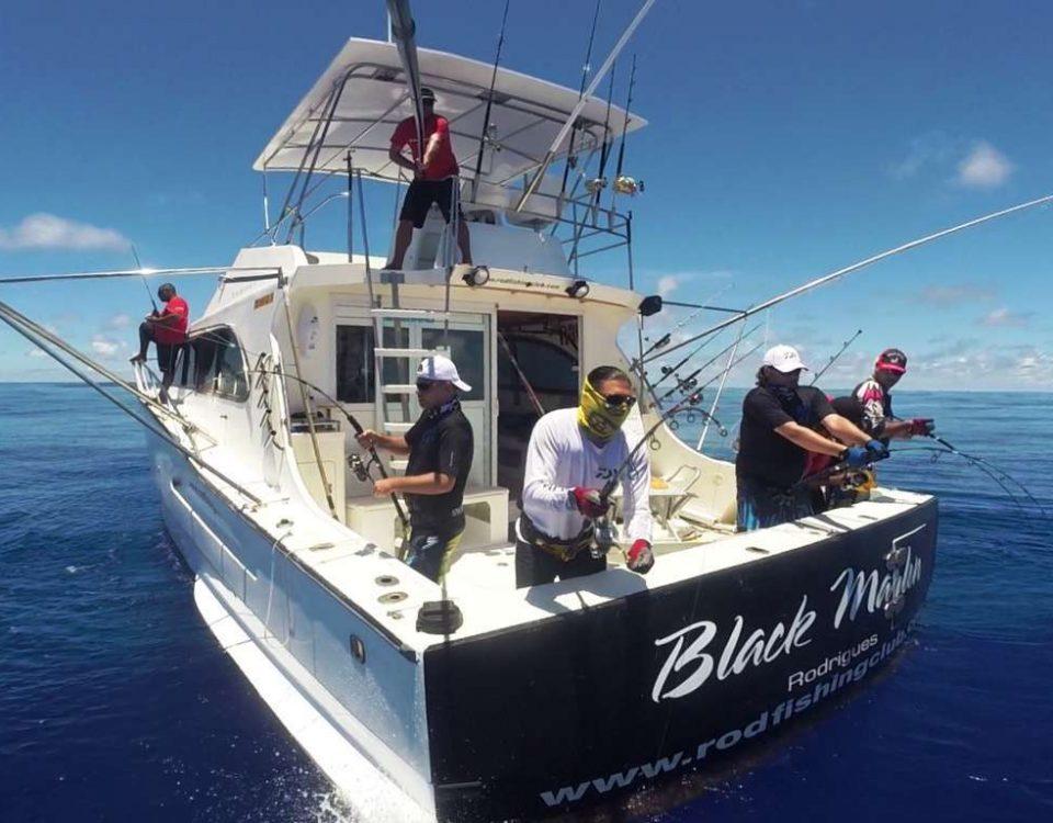 Four strikes on same time ! - Rod Fishing Club - Rodrigues Island - Mauritius - Indian Ocean