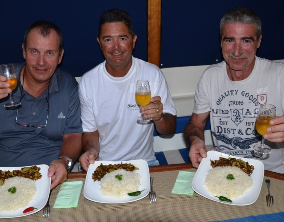 Hot meals aboard Black Marlin - Rod Fishing Club - Rodrigues Island - Mauritius - Indian Ocean