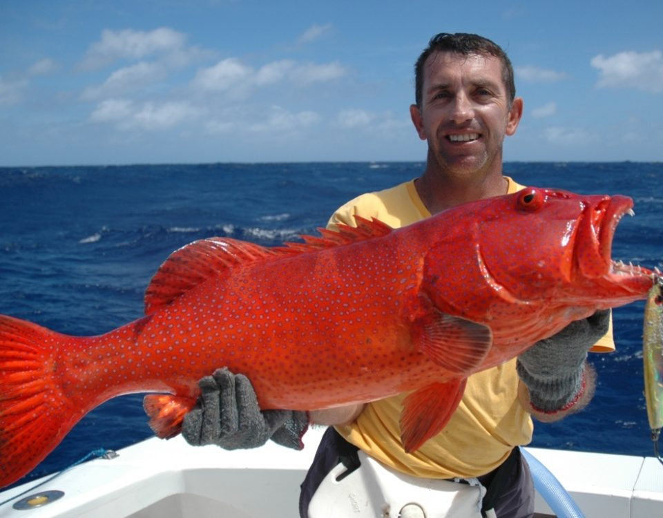 Julien and his Red Corail Trout on jigging - Rod Fishing Club - Rodrigues Island - Mauritius - Indian Ocean